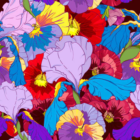 blue irises and red and purple pansy on a dark background. Seamless vector pattern. Hand drawing flowers  vector illustration.