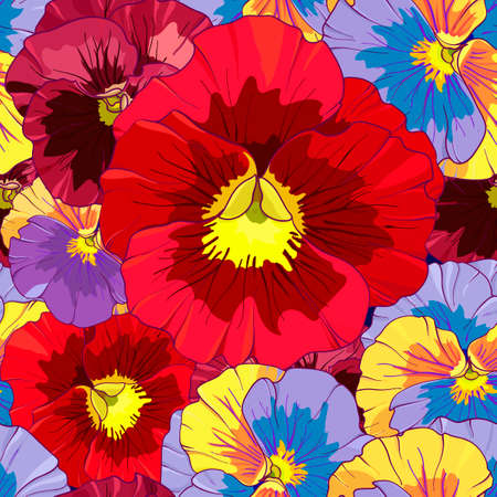 Bright red and orange flowers of pansy on a dark burgundy background. Seamless vector pattern. Hand drawing vector illustration.