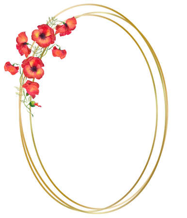 golden circle frame with red poppies, watercolor illustration on a white background . wreath with bright poppies, red flax flowers and green leaves Stockfoto