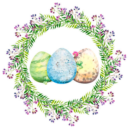 Easter floral wreath with violet flowers, branches, leaves and eggs. Bouquet of flowers, watercolor illustration. 免版税图像