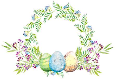 Easter floral wreath with violet flowers, branches, leaves and eggs. Bouquet of flowers, watercolor illustration. Happy Easter card
