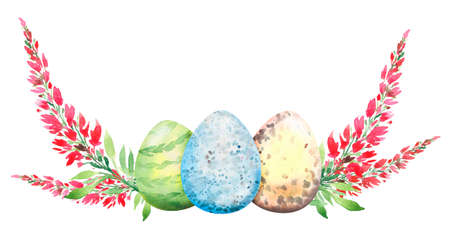 Easter floral composition with red  flowers and eggs. Flower bouquet, watercolor illustration, Easter congratulation. Isolated.