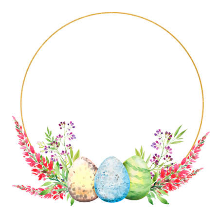 aster floral wreath with a golden round frame, with red flowers, branches, leaves and eggs. Bouquet of flowers, watercolor illustration.