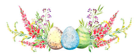 Easter floral composition with red and yellow flowers and eggs. Flower bouquet, watercolor illustration. Happy Easter card