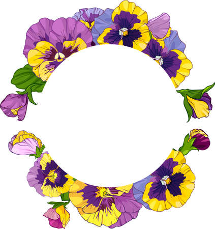 round frame with pansy flowers, wreath viola, yellow and purple flowers green leaves ornament, vector illustration Vettoriali