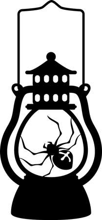 Halloween lantern, spider silhouette, file for cutting, vector illustration