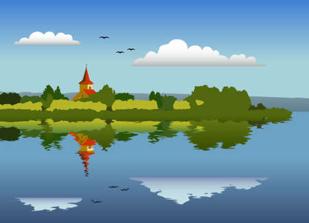 reservoir: Panorama of an Island with a Church Illustration