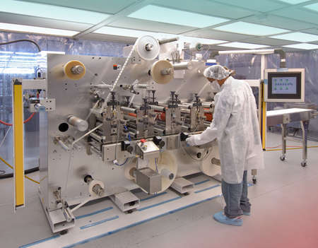 Manufacturing in clean room Stock Photo