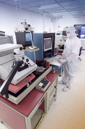 Wafer analysis clean room vertical Stock Photo