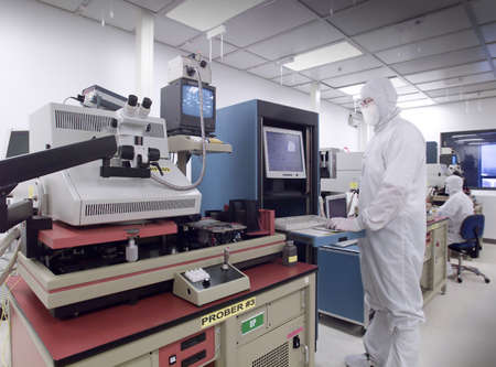Wafer analysis clean room Stock Photo
