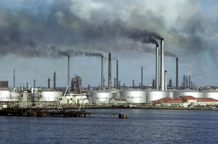 spewing: oil refinery spewing toxic fumes