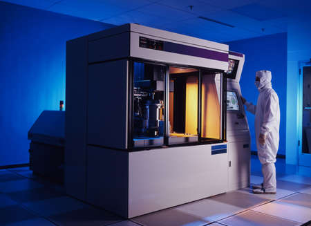 Wafer emursion de pasos utilizados en la fabricación de chips de ordenador Foto de archivo