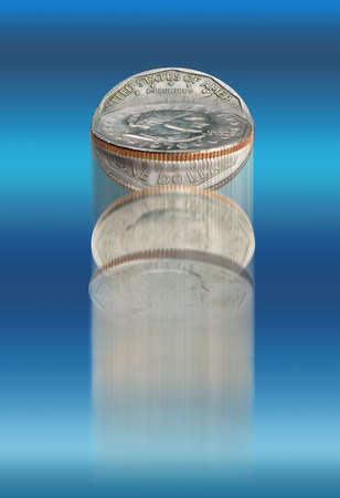 Coin flip on blue