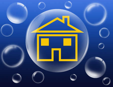 yellow house in big bubble surrounded by smaller bubbles
