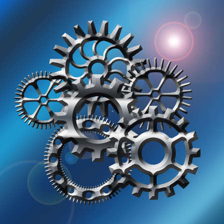 Gears on blue