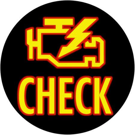 catalytic: Check engine light round Stock Photo