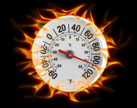 Burning thermometer on blacl photo