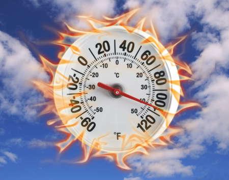 푸른 하늘에 불타는 온도계