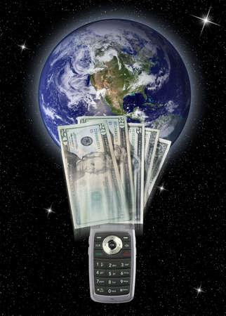 transfers: Global cellphone money transfers Stock Photo