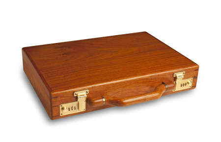 attache: attache case made of rich cherry wood with brass latches Stock Photo