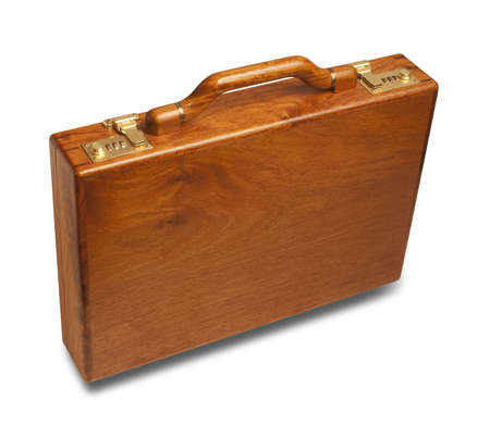 attache: attache case made of rich cherry wood with brass latches, includes shadow and clipping path