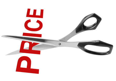 price cutting: Scissors cutting the red word price, isolated with clipping path Stock Photo