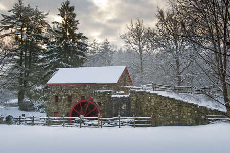 Grist Mill at The Wayside, Sudbury, Massachusetts, shot on a snowy day at dawn