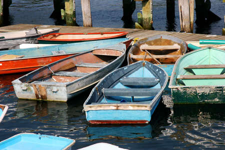 oars: Colorful row boats or dinghies in Maine,USA