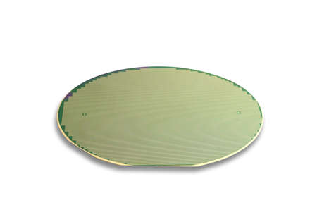 Silicon wafer isolated on white
