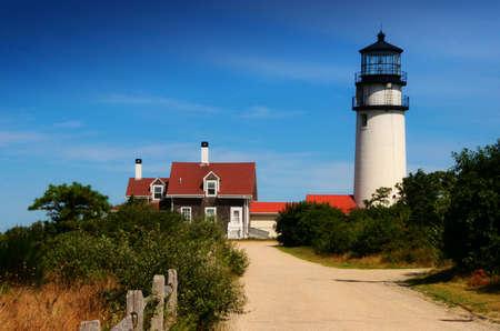 guard house: Truro lighthouse on Cape Cod, USA Stock Photo