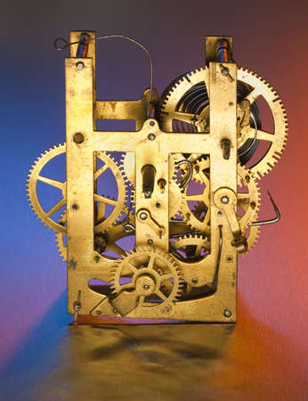 Clock interior with exposed gears of various sizes