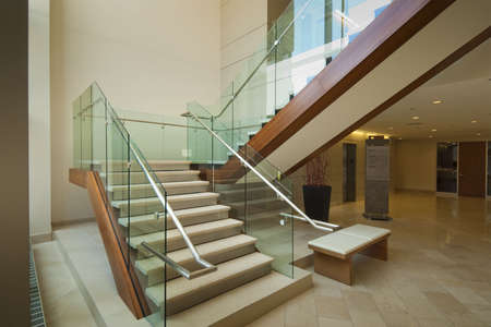 Staircase leading to 2nd floor in modern office building Stock Photo