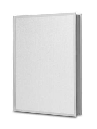 book: White blank linen book isolated