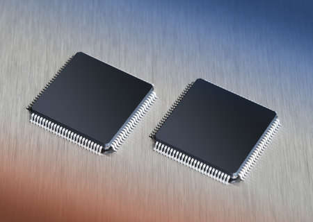 pci: Two computer chips on stainless steel background with blue and orange gradient Stock Photo