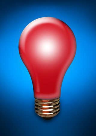 Red light bulb on blue background Imagens