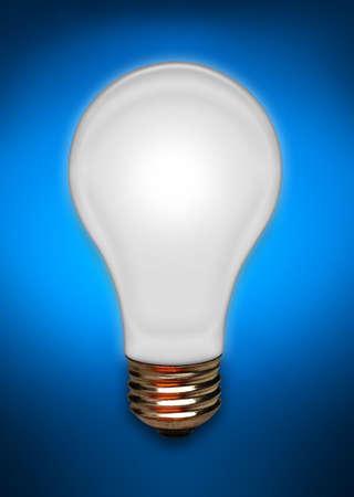 White light bulb floating on a blue background Imagens
