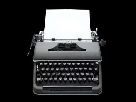 hoja en blanco: m�quina de escribir antigua de envejecido, vintage con una hoja de papel en blanco  Foto de archivo