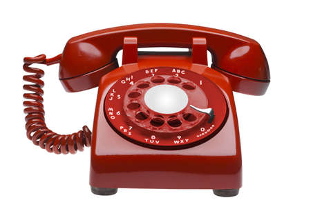 telephone: Red  60s rotary dial phone