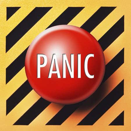 panic button: Pulsante di panico sul pannello giallo e nero in rosso  Archivio Fotografico