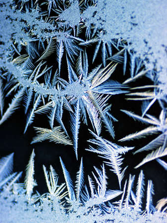 crystal background: Frost on a window pane Stock Photo