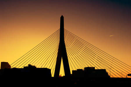 boston skyline: Zakim Bridge in Boston at sunset