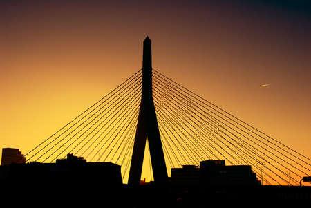 Zakim Bridge in Boston at sunset Stock Photo - 8281045