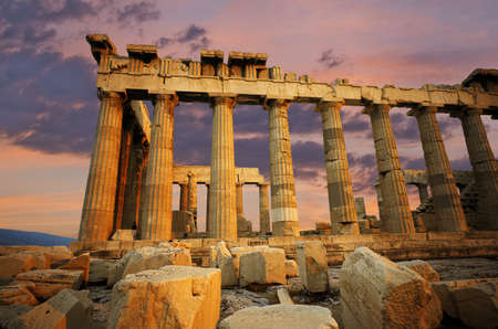 remains: Ruins of the Parthenon on the Greek acropolis