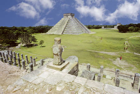 Pyramid and ruined temple view of Chinchen-Itza in Yucatan, Mexico