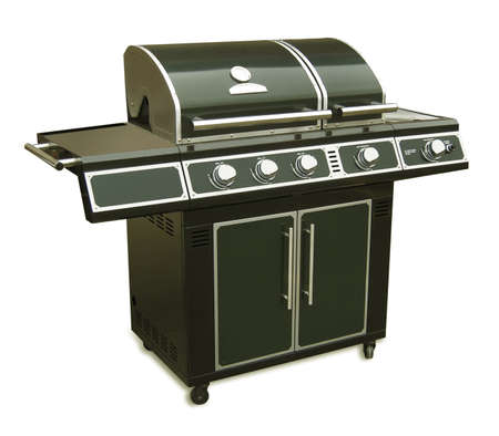 gas stove: Very large gas barbecue grill  Stock Photo
