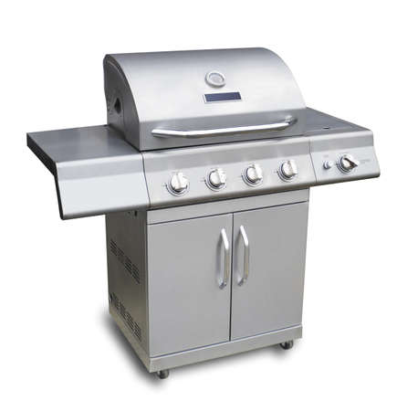 Barbecue gas grill in stainless steel Archivio Fotografico