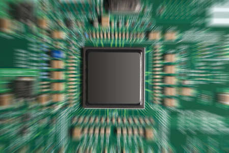 Close-up of computer chip with zoom effect Stock Photo - 9376813