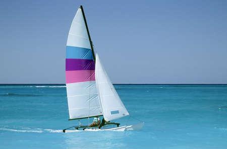 Sailboat or catamaran on caribbean waters