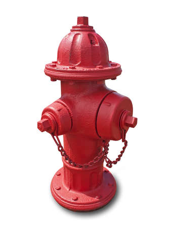 borne fontaine: Red fire hydrant isolated on white with shadow and clipping path  Banque d'images