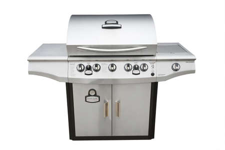 Barbecue gas grill in stainless steel, isolated with shadow